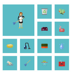 Flat icons wisp housekeeping sponge and other vector