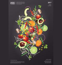 flying ingredient food vector image