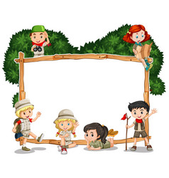 Frame template with kids in safari outfit vector