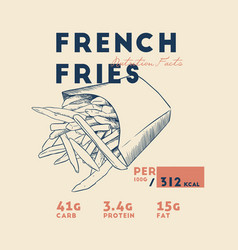 french fries nutrition facts vector image