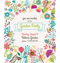 Garden or summer party invitation template poster vector
