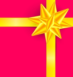 Gold Ribbon on Pink Background - Gift Box Cover vector image