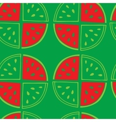 Green seamless pattern of watermelon slices vector image