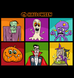 halloween holiday cartoon scary characters set vector image