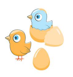 happy cartoon chickens vector image