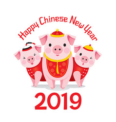 happy chinese new year 2019 and three pigs vector image