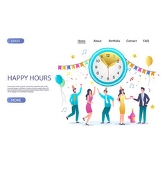 happy hours website landing page design vector image