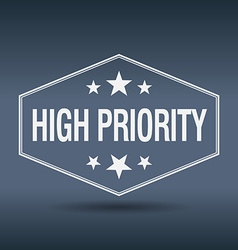 High priority hexagonal white vintage retro style vector