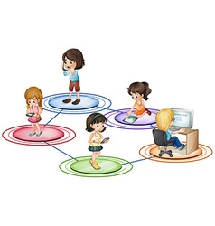 Kids and communication devices vector image