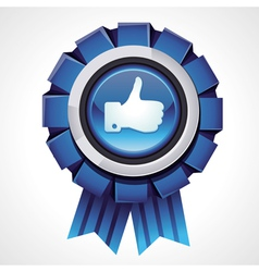 like sign on glossy award icon vector image
