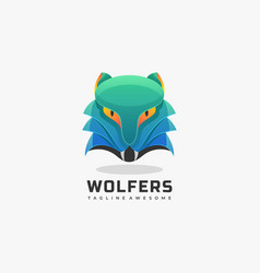 logo wolf gradient colorful style vector image