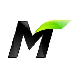 M letter black and green logo design Fast speed vector
