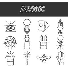 Magic flat icon set vector