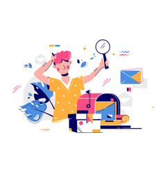 Man unpacking post delivery with magnifying glass vector