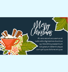 merry christmas banner with text sample vector image