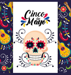 mexican card with traditional skull decoration vector image
