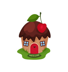 miniature fantasy house in form of sweet cupcake vector image