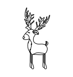 Monochrome contour of funny reindeer stand with vector