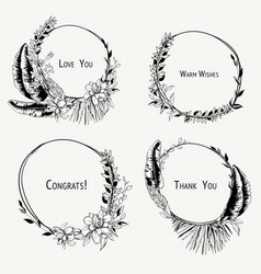 monochrome set tropical wreaths exotic vector image