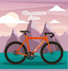 mountain bike sport natural landscape vector image