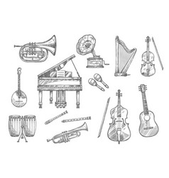 Musical instrument sketch of classic jazz music vector