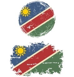 Namibian round and square grunge flags vector
