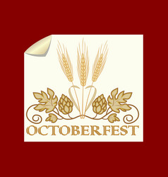 octoberfest banner golden hops and barley on old vector image
