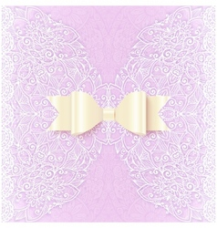 Ornate lacy wedding invitation card cover vector image