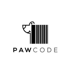 Paw code logo design technology vector