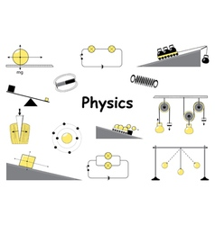 Physics and science icons set vector