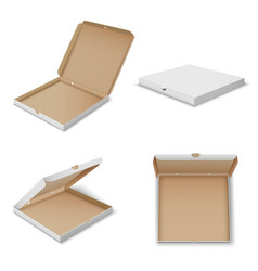 pizza carton boxes realistic mockups set open vector image