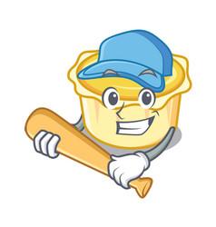 Playing baseball egg tart character cartoon vector