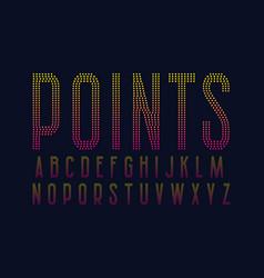 Points alphabet yellow pink gradient dotty font vector