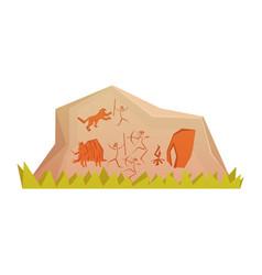 prehistoric rock engravings colorful vector image