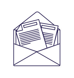 Purple line contour of opened envelope mail vector