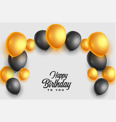 Realistic happy birthday card with golden vector