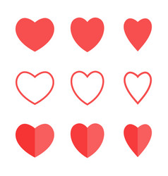red heart shape icon line icon heart vector image