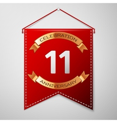 Red pennant with inscription Eleven Years vector