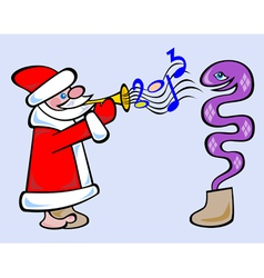 Santa plays penny trumpet for snake vector image