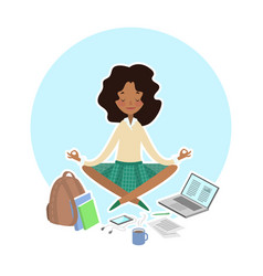 School college concept student in lotus pose vector