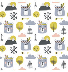 Seamless childish pattern with cute bears vector