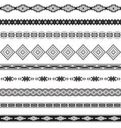 Seamless pattern borders tribal set vector image vector image