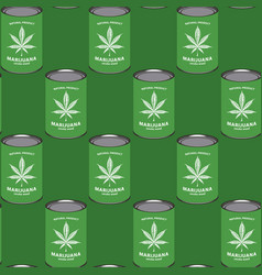 Seamless pattern with marijuana cans canned hemp vector