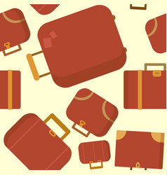 seamless pattern with red suitcases flat vector image