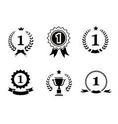 Set black and white circular winner emblems vector