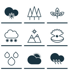 set of 9 landscape icons includes sprout vector image
