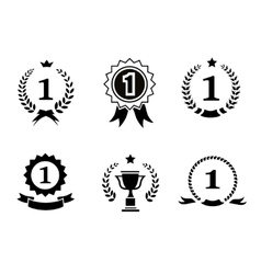 Set of black and white circular winner emblems vector image
