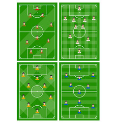 Set of four football fields with different scheme vector