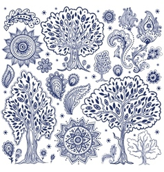 Set of unique ethnic trees and flowers vector