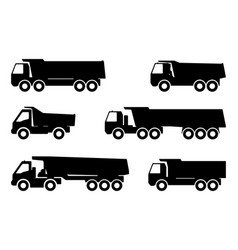 set silhouette of a dump truck vector image